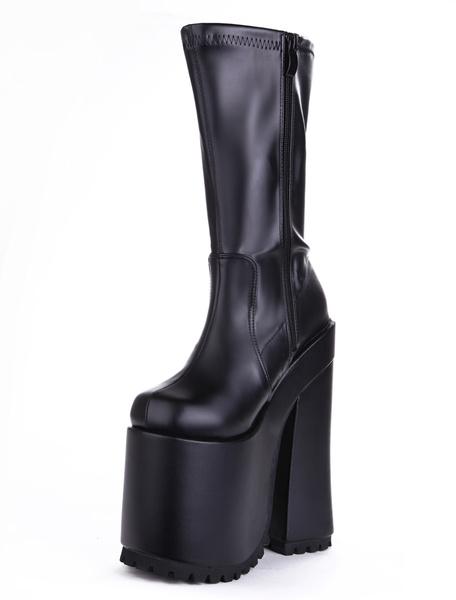 Milanoo Black Sexy Shoes Platform Round Toe Zip Up High Heel Boots Women Sexy Boots