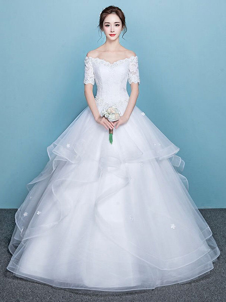 Milanoo Princess Ball Gown Wedding Dresses Off The Shoulder Lace Short Sleeve Tulle Tiered Bridal Dress