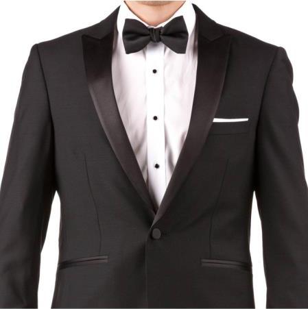 Slim Fit Peak Lapel Groom & Groomsmen Wedding Suits Tuxedo