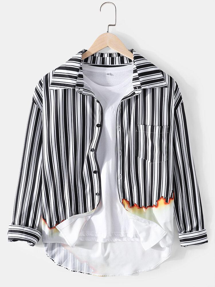 Mens Stripe Flame Print Lapel High Low Long Sleeve Shirts
