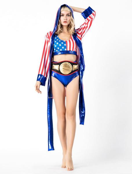 Milanoo Women Boxer Costume Halloween Striped Sexy Outfit
