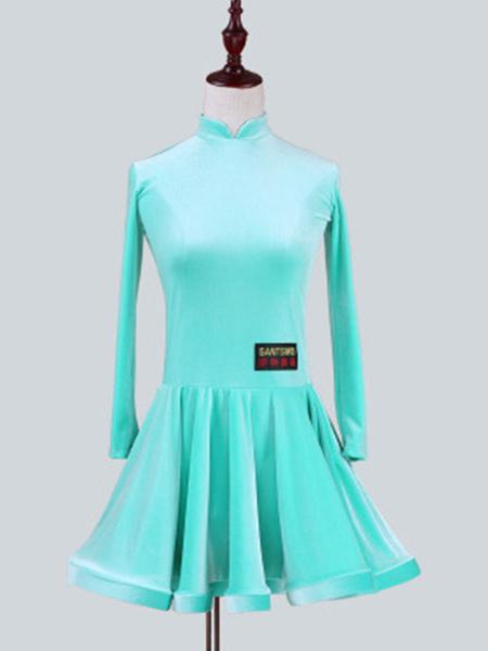 Milanoo Dance Costumes Latin Dancer Dresses Kids Velvet Long Sleeve Stand Collar Mint Green Ballroom Dancing Wears For Girls Halloween