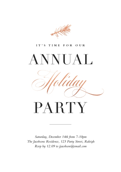 Christmas & Holiday Party Invitations 5x7 Cards, Premium Cardstock 120lb with Elegant Corners, Card & Stationery -A Warm Holiday Party Annual