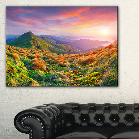 Designart Pretty Colorful Sunset In Mountains Canvas Art, One Size , Green