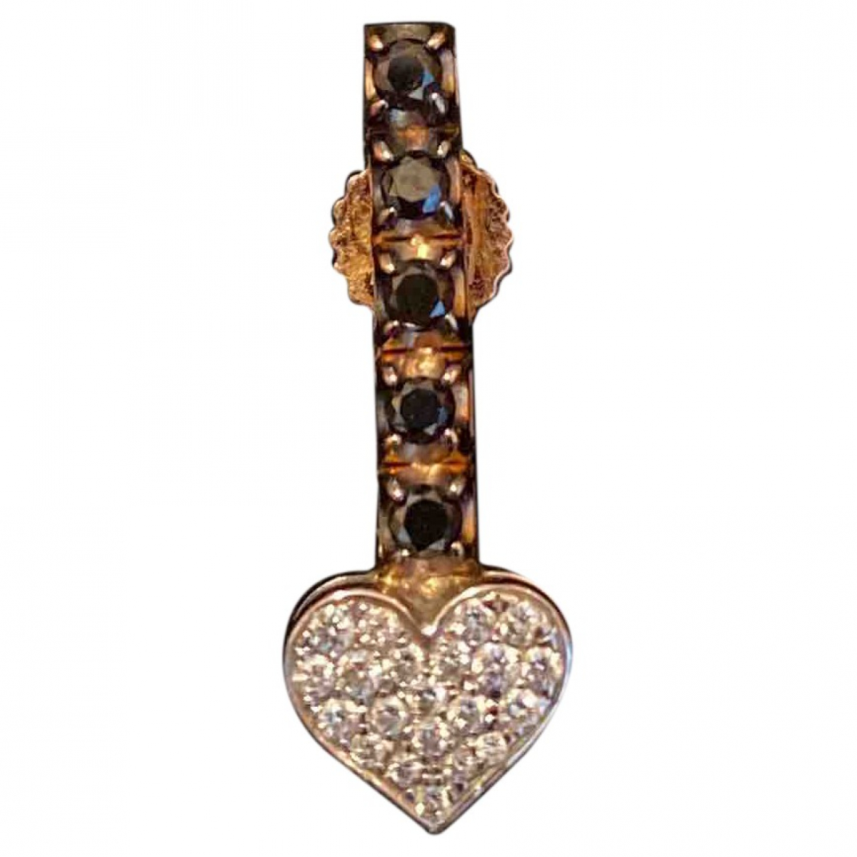 Non Signé / Unsigned Motifs Coeurs Black Pink gold Earrings for Women \N