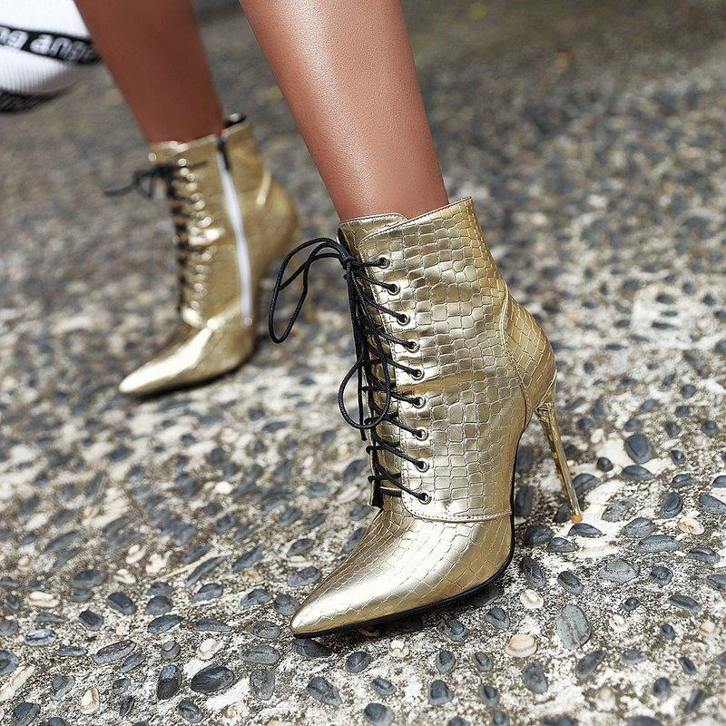 Ericdress Side Zipper Stiletto Heel Plain Lace-Up Boots