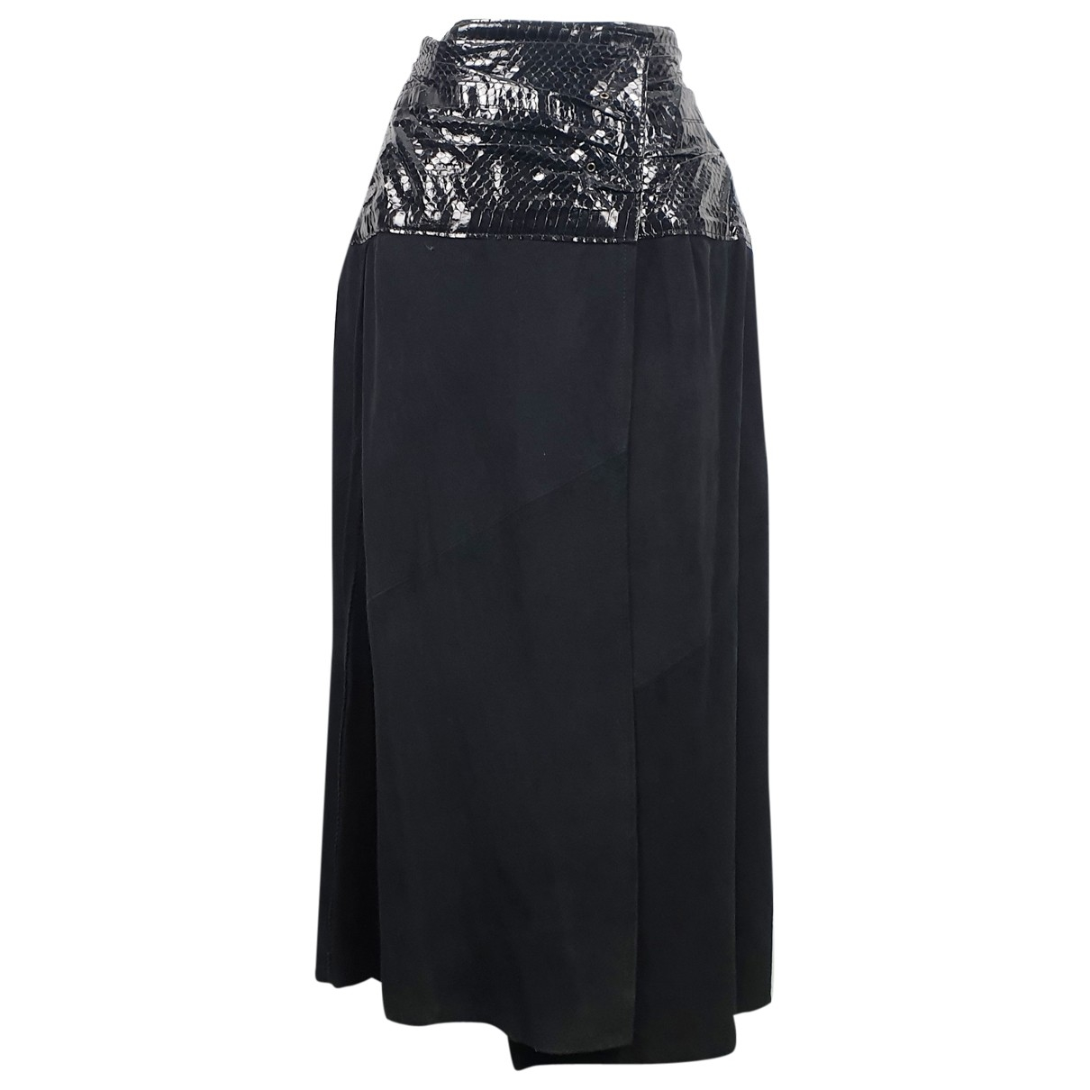 Non Signé / Unsigned \N Black Suede skirt for Women 44 IT