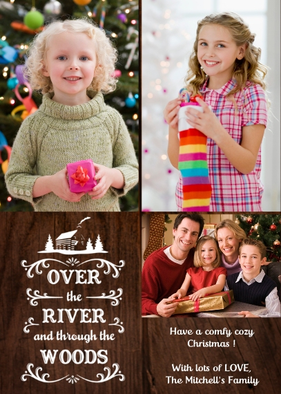 Holiday Photo Cards 5x7 Folded Cards, Standard Cardstock 85lb, Card & Stationery -Over the River