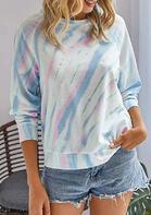 Tie Dye Long Sleeve T-Shirt Tee - Blue