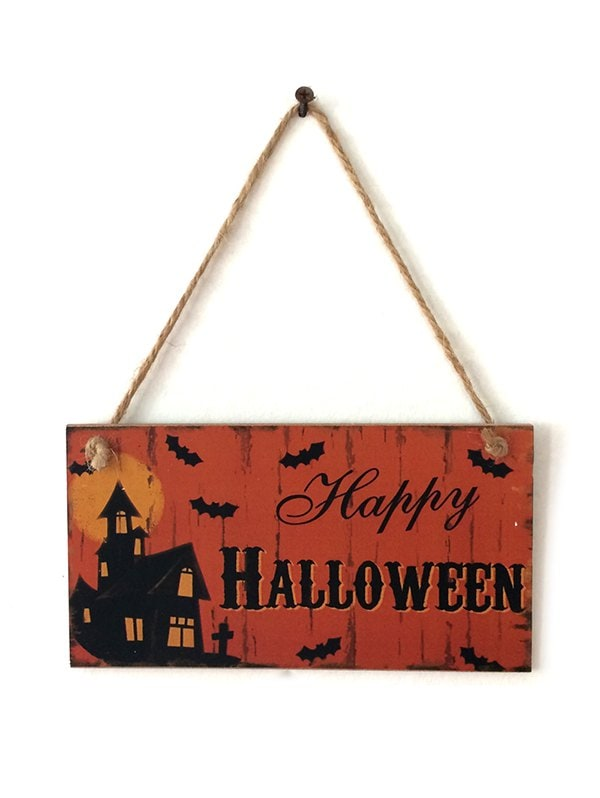 Halloween Haunted House Pattern Wood Hanging Decor