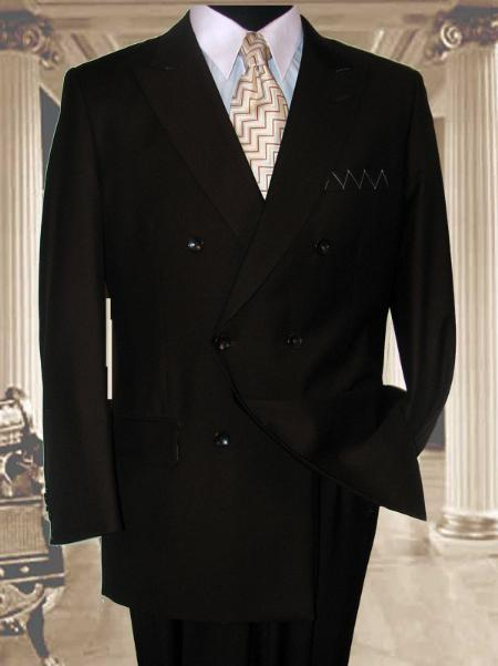 Double Breasted Solid Brown Suit Side Vent Jacket Pleated Pant Mens