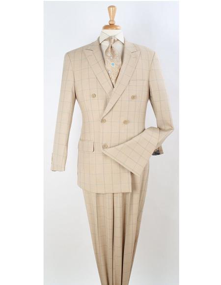 Mens Peak Lapel Suit Ivory