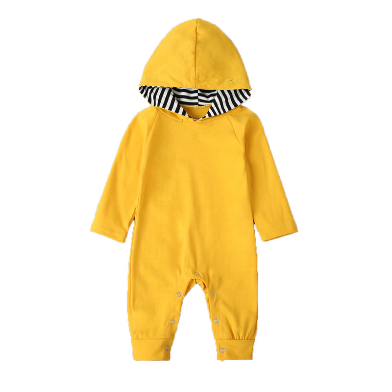 Baby Solid Color Cotton Long Sleeves Hooded Casual Rompers For 0-24M