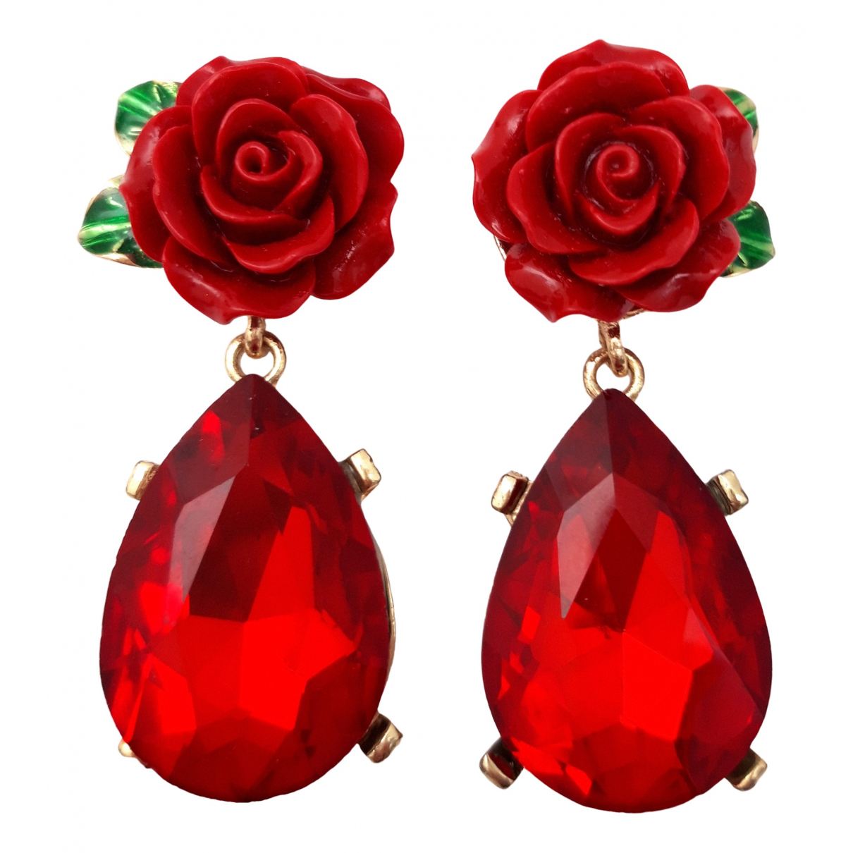 Non Signé / Unsigned Motifs Floraux Red Crystal Earrings for Women \N
