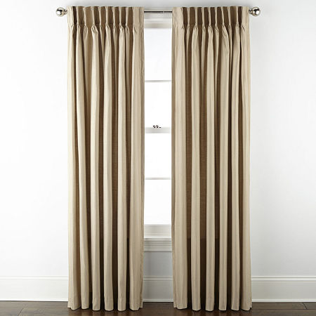JCPenney Home Supreme Energy Saving Light-Filtering Pinch-Pleat Single Curtain Panel, One Size , Beige