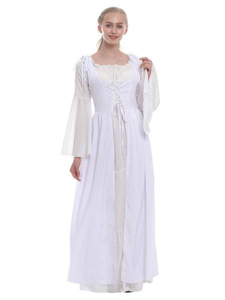 Milanoo Retro Medieval Scotland Dress Women Two Pieces Vintage Garden Floral Plaid Dress Fashion Patchwork Prairie Chic Sukol Dress