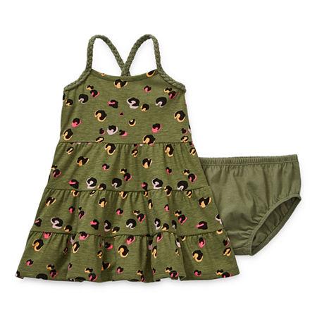 Okie Dokie Baby Girls Sleeveless Babydoll Dress, 12 Months , Green