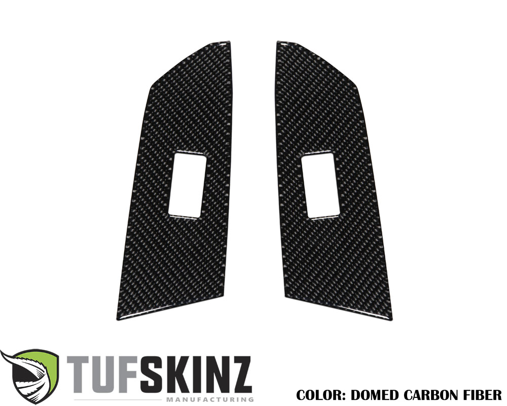 Tufskinz TUN029-DCF-G Crewmax Rear Door Switch Panel Accent Trim Fits 14-up Toyota Tundra 2 Piece Kit in Domed Real Carbon Fiber