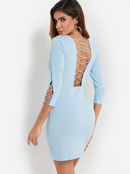 Yoins Sky Blue Backless Design Round Neck 3/4 Length Sleeves Dress