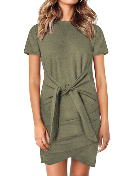 Milanoo Summer Dresses High Collar Khaki Sundress