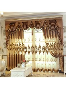 Gold Luxury Elegant Embroidered Chiffon Voile Sheer Curtains for Living Room No off-lining No Fading Net Curtains