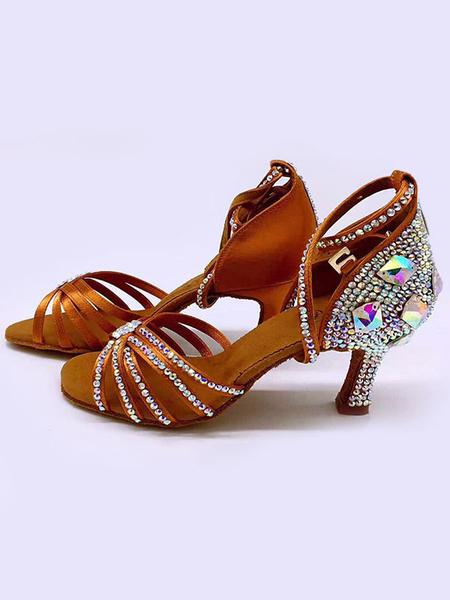 Milanoo Latin Dance Shoes Black Open Toe Rhinestones Ballroom Dance Shoes
