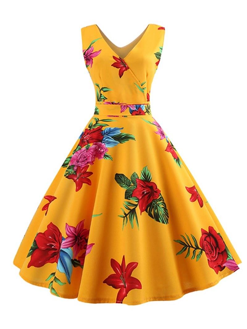 Ericdress V Neck Print A Line Women's Dress