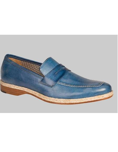 Men's Blue Leather Sole Rope Welt Loafer Shoes Authentic Mezlan Brand