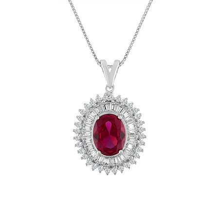 Womens Lab Created Red Ruby Sterling Silver Oval Pendant Necklace, One Size , No Color Family