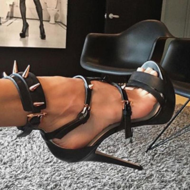 Ericdress PU Rivet Slingback Strap Stiletto Heel Women's Sandals