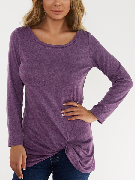 Yoins Purple Pleated Design Round Neck Long Sleeves T-shirts