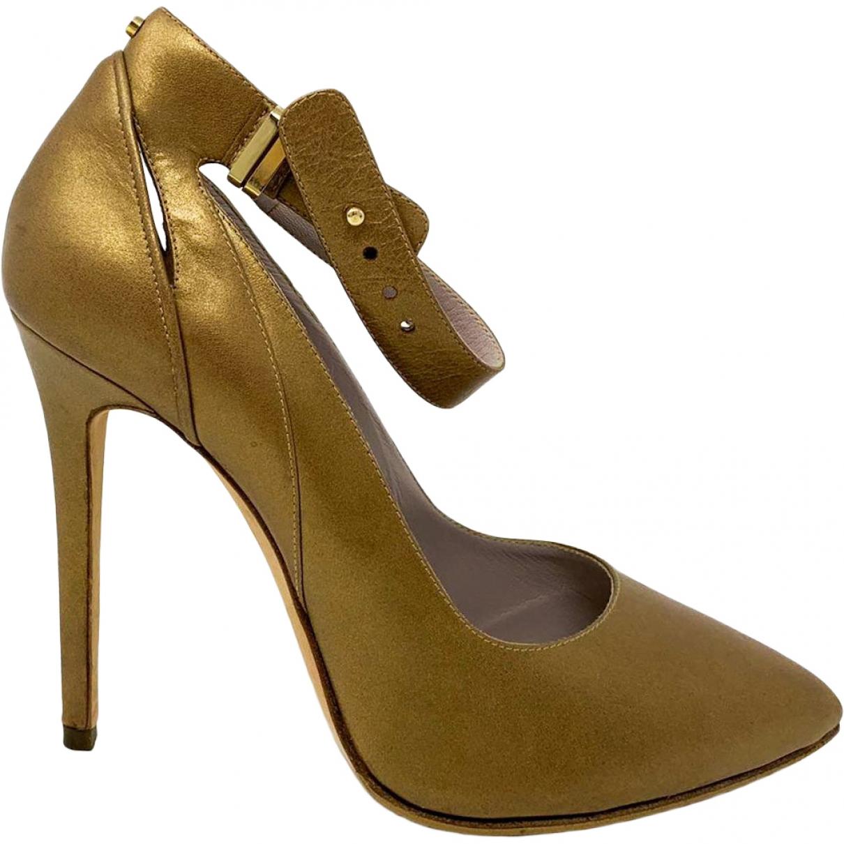 Elie Saab \N Gold Leather Heels for Women 39.5 EU