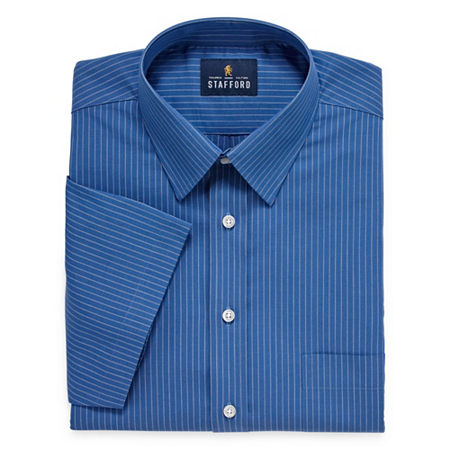 Stafford Mens Short Sleeve Travel Easy-Care Broadcloth Stretch Dress Shirt, 14.5 , Blue