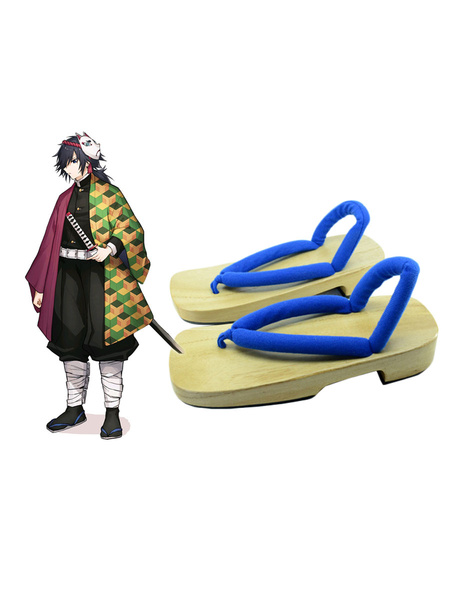Milanoo Demon Slayer: Kimetsu No Yaiba Giyu Tomioka Clogs And Socks Anime Cosplay Accessories