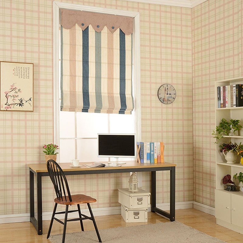 Ventilate Linen Blue and Beige Stripes Printing Flat-Shaped Roman Shades