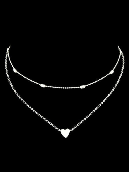 Milanoo Golden Women Necklace Sweetheart Chain Metal Detail Alloy Layered Necklace