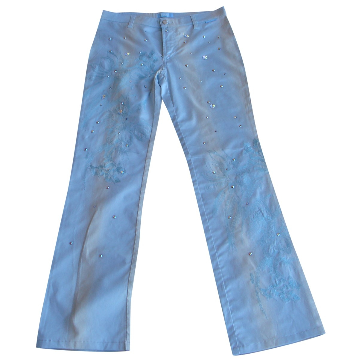Gianfranco Ferré \N Blue Cotton Trousers for Women 38 FR