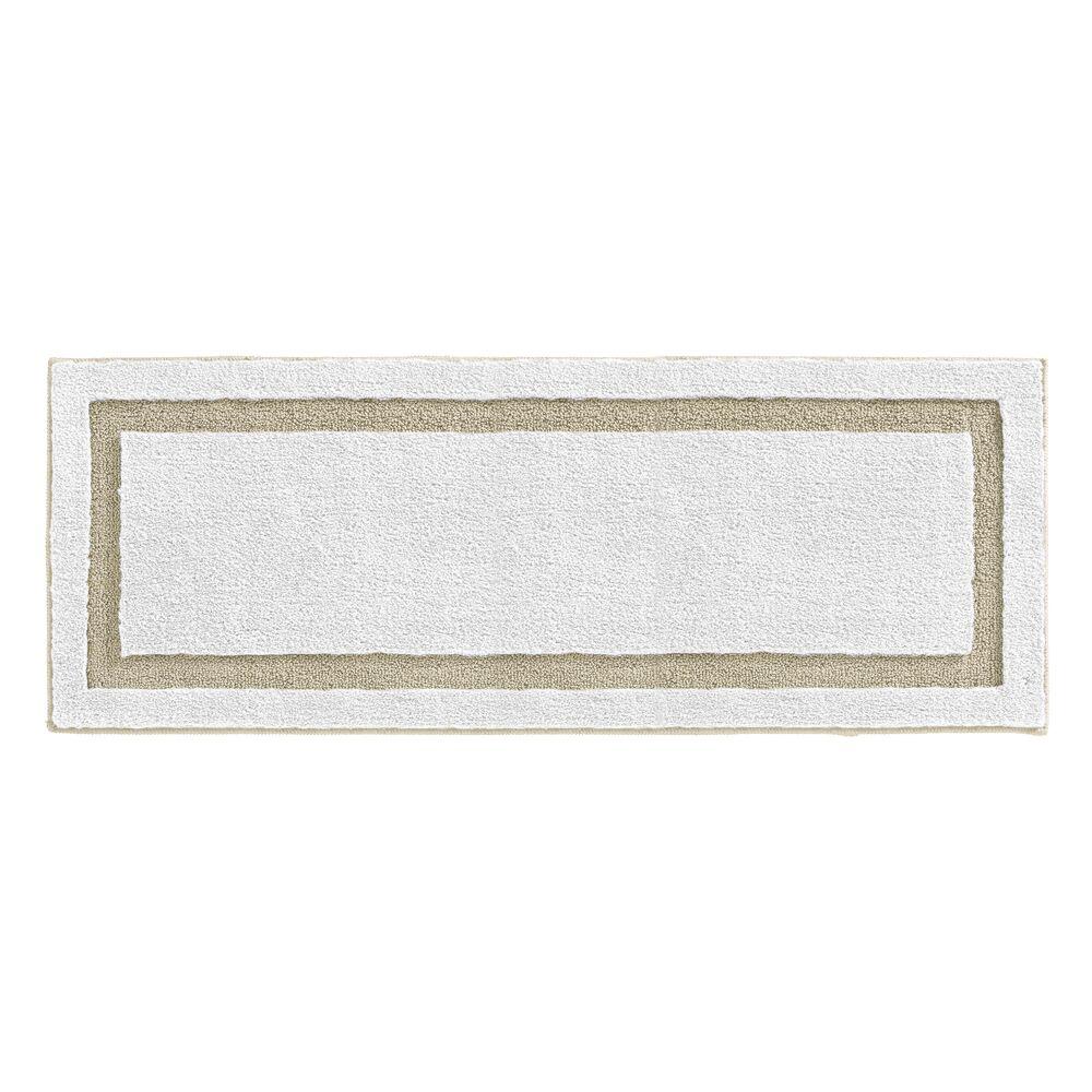 Microfiber Bath Mat, Non-Slip Bathroom Rug, in White/Linen, 60 x 21, by mDesign