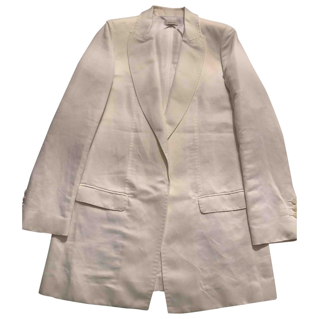 Pinko \N White Linen jacket for Women 44 IT