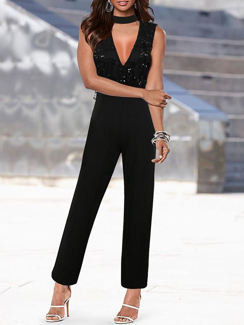 Ericdress Plain Sequins Western Women's Slim Straight Jumpsuit