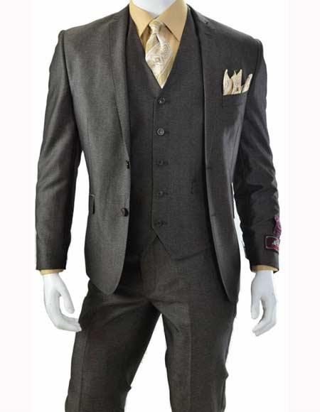 Men's Brown Three Piece Slim Fit Single Breasted 5 Button Vested Suit