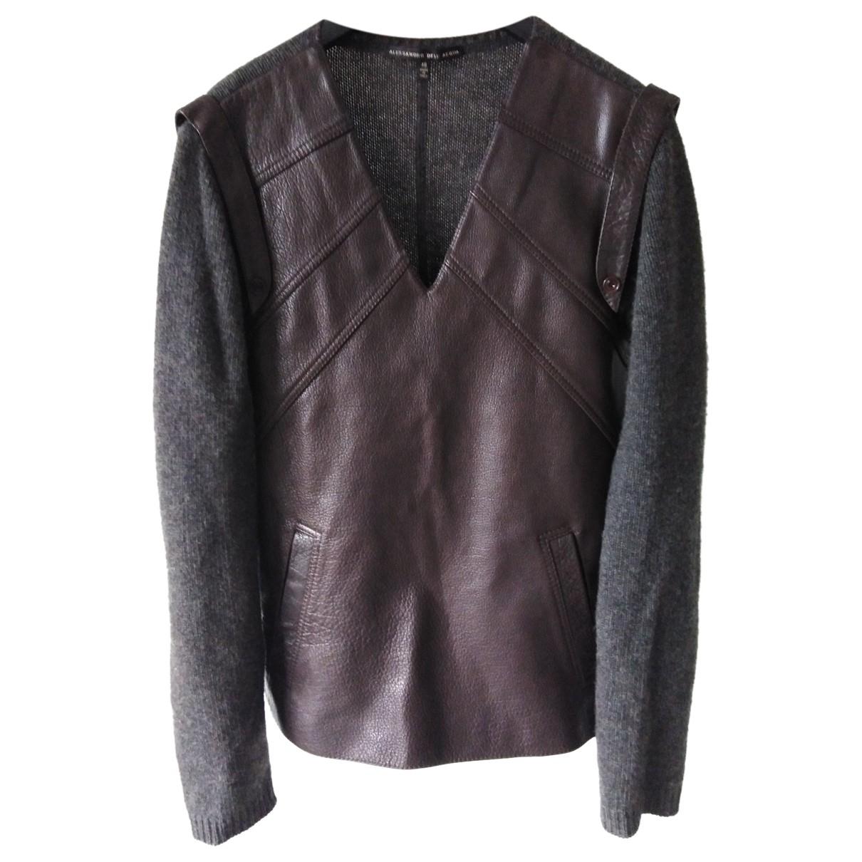 Alessandro Dell'acqua \N Brown Leather Knitwear & Sweatshirts for Men 48 IT