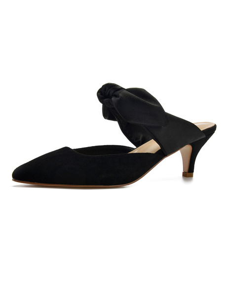 Milanoo Kitten Heel Pumps Satin Pointed Toe Bow Mules Shoes For Women