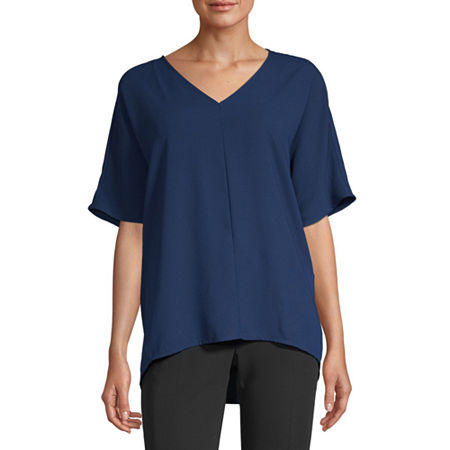 Worthington Womens V Neck Woven Popover Blouse, Petite Small , Blue
