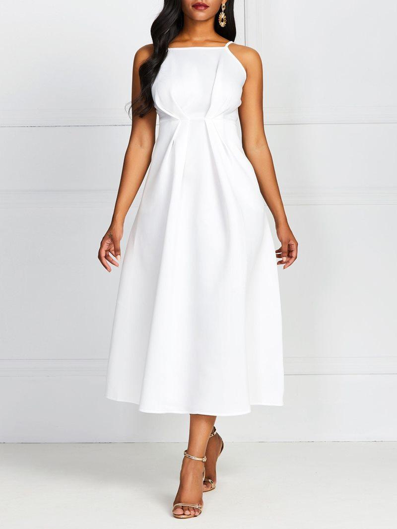 Ericdress A-Line Mid-Calf Sleeveless Scoop Standard-Waist Plain White Dress