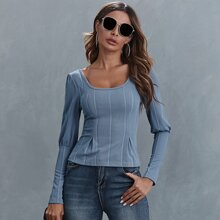 Fold Pleated Front Gigot Sleeve Top