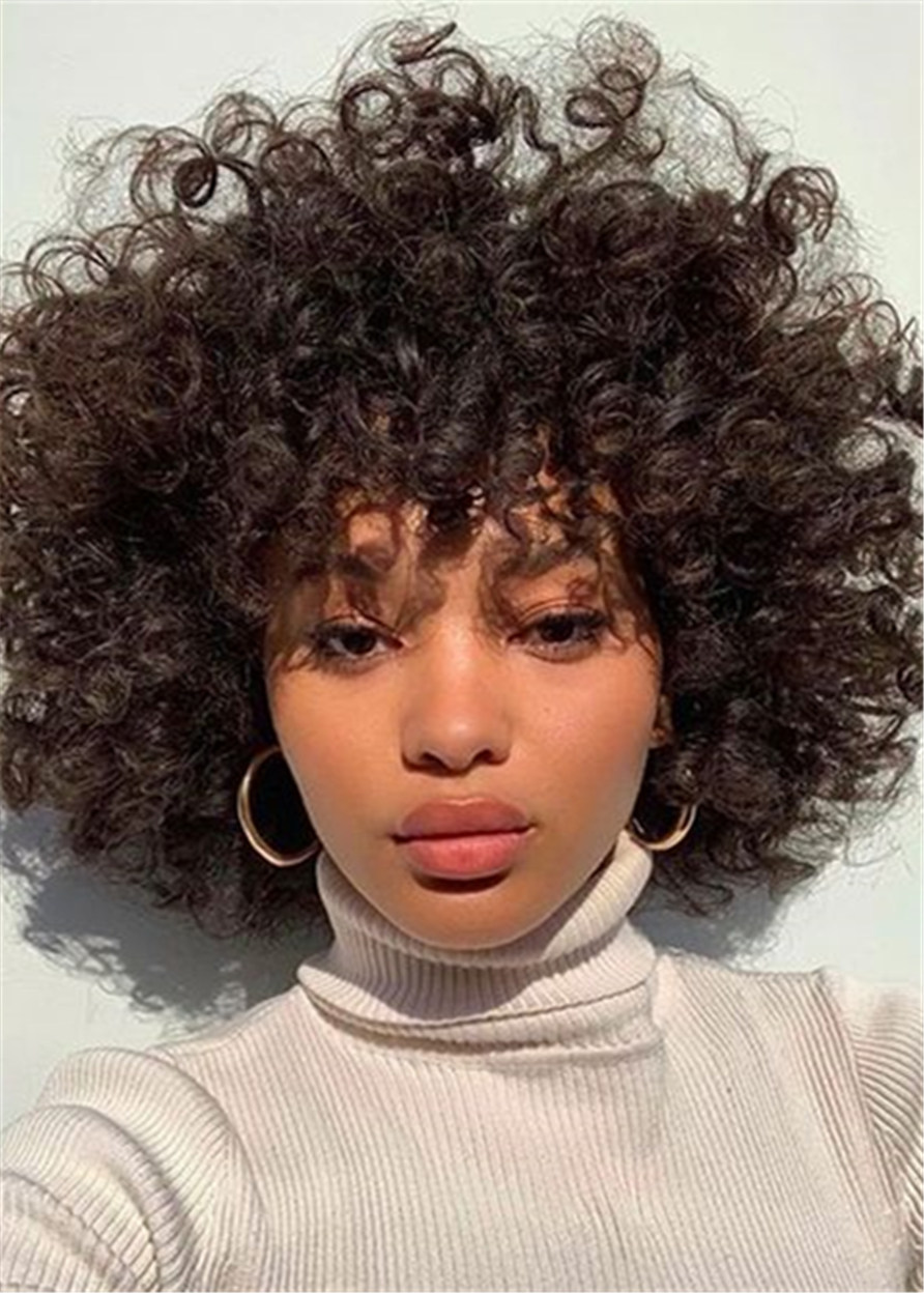 Afro Curly Capless Synthetic Hair 12 Inches 120% Wigs Heat Resistant Natural Looking Daily Party Wigs Cosplay Wigs with Natural Bangs with Free Wig Ca