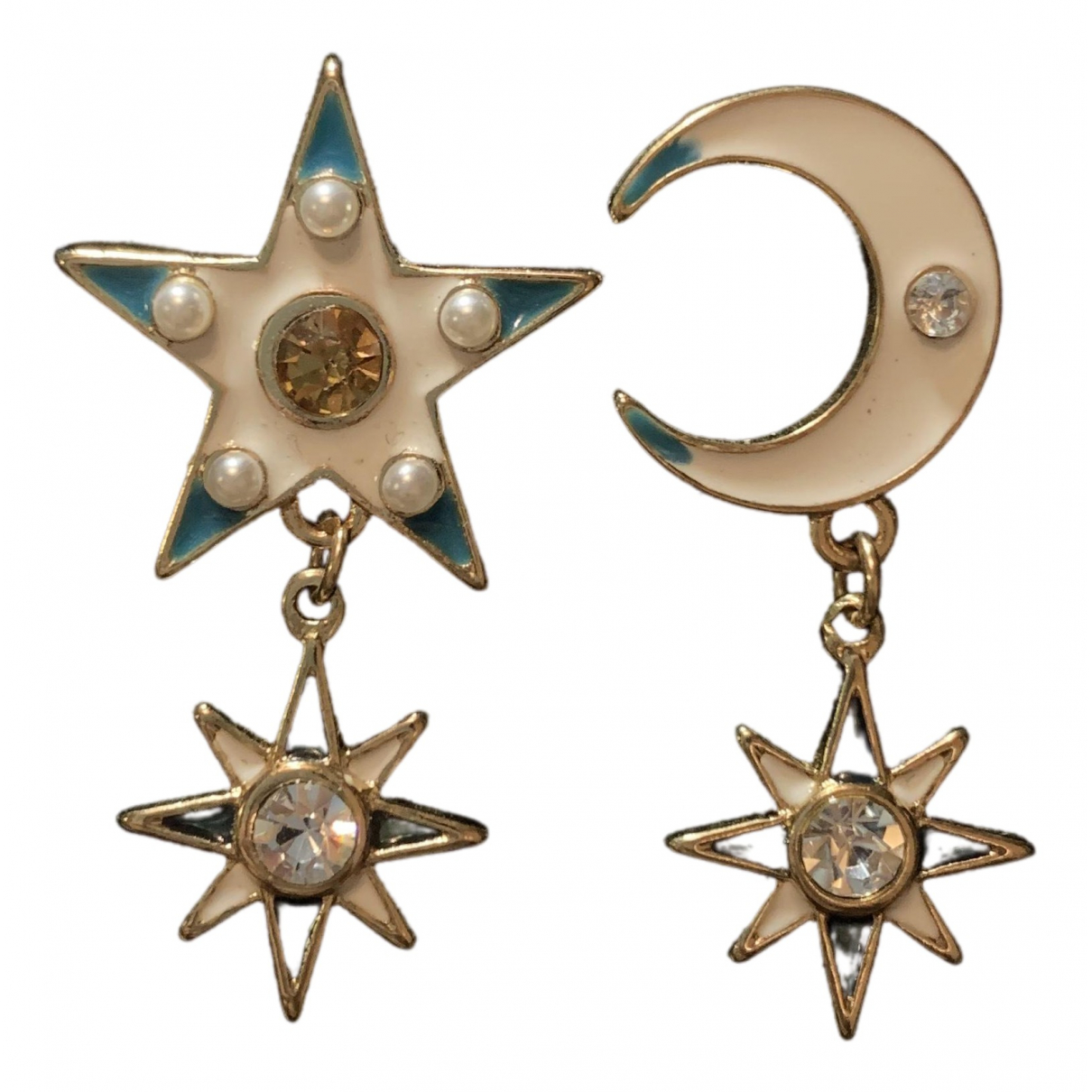 Non Signé / Unsigned Motifs Etoiles Multicolour Metal Earrings for Women \N