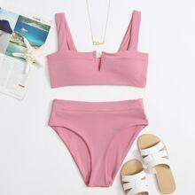 Rib V Wired High Waisted Bikini Swimsuit