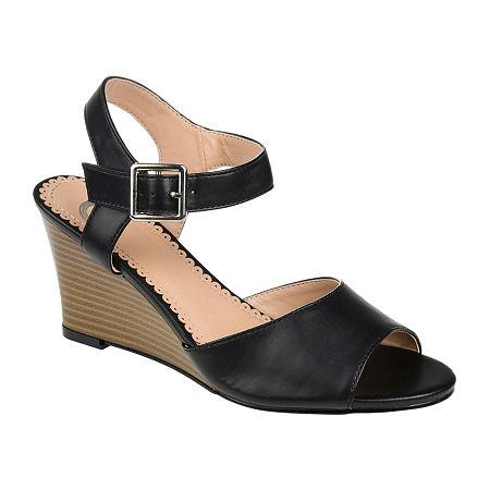 Journee Collection Womens Ricci Pumps Wedge Heel, 7 1/2 Medium, Black